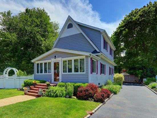 Beautiful 3 Bedrm Colonial set on quiet tree lined street. This Spacious home offers Large Updated Eat-In-Kitchen, Cherry Cabinets w/granite counters, Gas Cooking, Radiant Heat & Sliders to Deck. Updtes include 1st flr Bath (2 Years)w/radiant heat, Anderson Windows, Doors, Roof (8 Years), Burham Burner(3 Years), CAC(5 Years), Cesspool(10 Years)Gas HW Htr. Special features include Hardwd Floors Crown Moldings, Hi Ceilings, Lg Closets, Storage, Deck, Paver Patio w/Firepit & More! Low Taxes!