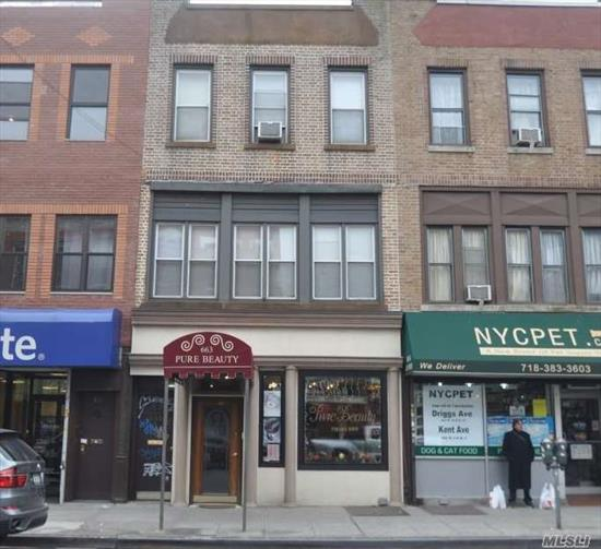 Mixed use, approx 1650 s/f commercial space on the 1st fl and 2 apts. above. Great Location only 1.5 blocks to subway.