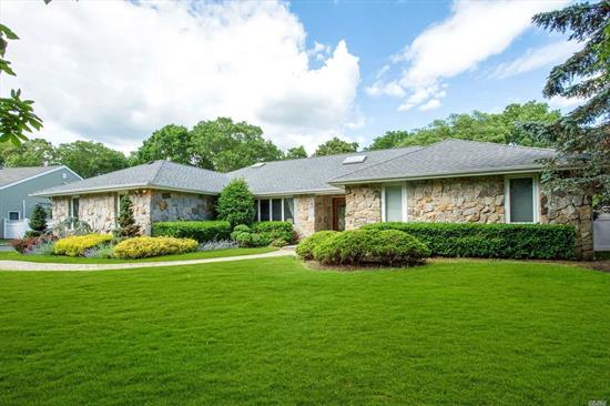 Beautiful South of Montauk Ranch in Deer Run Estates on 3/4 Acres, Open Floor Plan, Entry Foyer, Living Room with Vaulted Ceilings, Custom Eat In Kitchen, Den with Fireplace, 3 Bedrooms, 3.5 Baths, 4 Season Room with Sliders... Large Backyard features Deck with Bar & 20X40 Inground Gunite Pool with Patio