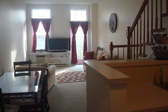 Beautiful 25 year young duplex apt. Walking distance to PATH & 3 minutes to NJ Turnpike and RT 1 & 9 (Holland Tunnel). Large apt. with master bedroom suite, walk in closet, spacious master bath, vaulted ceilings, tremendous living room w/balcony & modern kitchen. 12' ceilings is critical for easy commute. Fabulous layout with a lot of storage, very low taxes, Vaulted ceilings quiet block. Large stage area in Basement.
