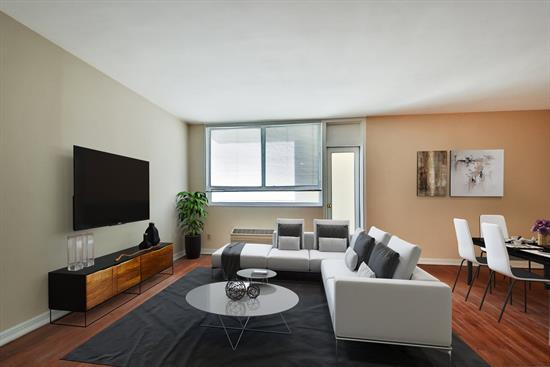 Open your door to a glorious NY Skyline view. Spacious 1bedroom, wood floors, new bath, lovely balcony and move in ready. The Doric is a premier area co-op with pool, gym, 24 hour concierge, dry cleaner, and deli on premises.