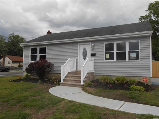 Beautifully Renovated 2 Bedrooms Ranch W/New Siding, New Windows, New beautiful island kitchen,  New Bathrooms, New Roof, New Driveway, New Sidewalk, New Appliances, Hi Hats, Sliding Doors To A Very Large Backyard, Perfect For Entertaining-great house for 1st Time Home Buyer!