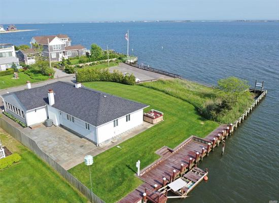 Magnificent, waterfront home, limitless bay views, & deep water dock. Newly appointed thruout w/new state of the art kitchen, classic remodeled bathrooms. Overlooking the bay on a private cul-de-sac, manicured landscape. Exclusive Shinnecock Shores waterfront community with member access to the Tiana Shores Association beach, pool, tennis and club. Must see.