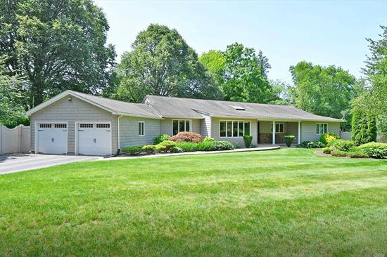 Sprawling Ranch on lush, flat property in North Dix Hills! Beautiful updated home boasts rich wood floors, vaulted ceilings, fabulous large kitchen & resort property you are looking for.Immaculately maintained home offers many updates including roof, windows, siding, pool liner, PVC fence & brand new AC, hot water heater.Huge basement for even more living space. Enjoy the gorgeous pool or inviting hot tub-relax on the composite deck. Lush grounds offer plenty of room to play!Half Hollow Hills East.