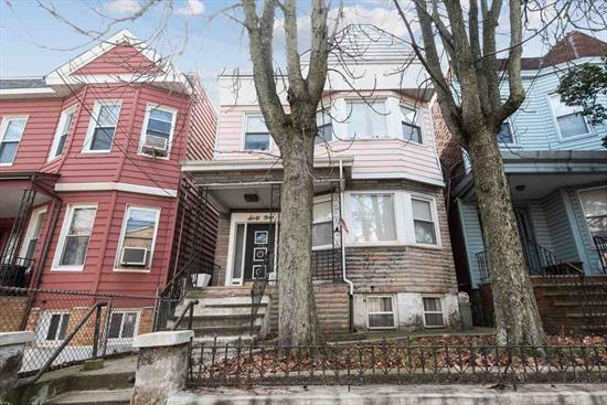 Good size 2 family home, well maintained featuring 2 bedroom apartments with tiled baths,  semi-finished basement and deck. Needs some upgrading but priced to sell. Excellent Heights location, convenient to Central Ave shopping and NYC transportation. Call today!
