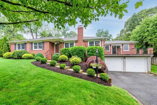 Updated Brick Ranch In Harborfields! Beautifully Situated In the Little Neck Area of Centerport. Large Living Rm with Fireplace, Formal Dining Rm open to the Family Rm w/Sliders to Upper Level Front Porch Patio. Updated EIK W/Radiant Heat. Master Br w/Bath. Hardwood Floors throughout. Updated Baths W/Radiant, Bsmt w/OSE & Entry to 2-Car Garage. Beautifully Landscaped Rear Yard With Pavered Patio. Close To Beach! Gas Heat. CAC. Neighborhood Dock Association (Sea Spray Assoc) Avail w/Dues