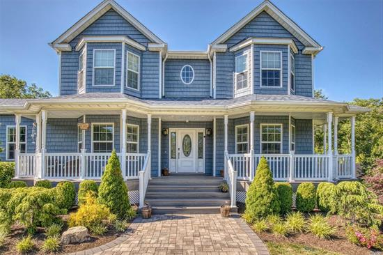 This Gorgeous Colonial home sitting on over .6 acres boasts 4 bedrooms w/built in closet systems, 2.5 ba w/radiant flooring, a 3rd ba in basement framed w/plumbing. Magnificent kitchen w 42 crowned cabinets, SS appliances w/double ovens, beverage center w/ wet bar, sparkling granite counters, beautiful stone gas fireplace, HW floors throughout 1st floor, enormous 2 car garage w/ 16 ft ceilings, central vac, and basement w/OSE. Too many extras to list. This Home Will Not Last!