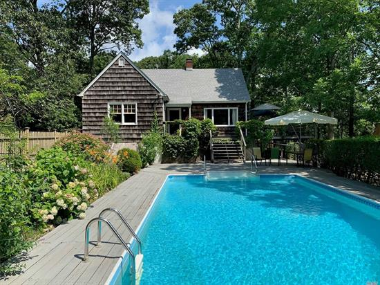 Waterfront, artist's cape cottage home, tucked away on a scenic creek with views of nature preserve.3 bedrooms, 2 baths, great room with Vermont castings fireplace for cozy fall and winter evenings. Canoe/kayak from your backyard. In-ground pool. updated kitchen with chef's gas stove, stone counter tops. Furnished or partially furnished.