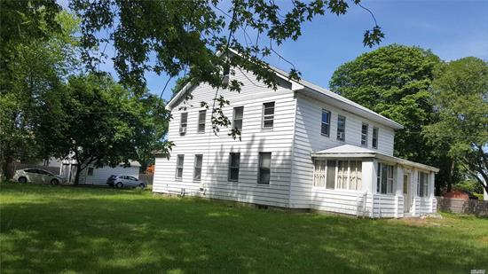 Large colonial on .66 acre. Dead end street. Entry Hall, Living room, Family room, Eat-in Kitchen, One Bedroom with Bath on Main Floor. 1660 sq', 2nd Floor, 3 Bedrooms, One Bathroom and Office or bedroom. 1330 sq. Full Basement 1330 sq. 2 Car Detached Garage. Tax is less than 9K with Star for this big house. Sachem school. Nice big yard with privacy. Near LIE,  bank and stores. As Is.