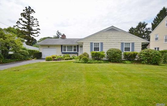 Lovingly Maintained Ranch! Living Rm w/Gas Fpl, Great Rm w/Sliders to Yard, Fdr, Eik, Master Bdrm, 2 Addl Bdrms, Full Bath. Full Finished Basement w/Rec Rm, Workshop, and Laundry Rm. Wonderful Yard with Bluestone Patio. Award Winning North Shore Schools!