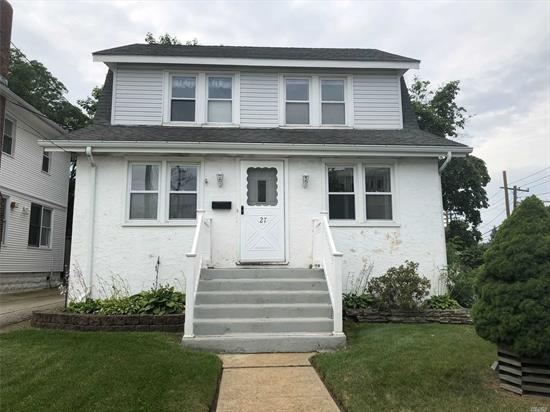 Full House rental- Great Colonial -Fantastic location for commuter. Living room with wood floors (tacks will be removed) Eat in kitchen (landlord purchased new Stove and Refrigerator). Dinning room,  Upstairs has 3 bedrooms, full bathroom. Basement for storage and laundry. Yard, walk to LIRR, comes with 2 parking spots.