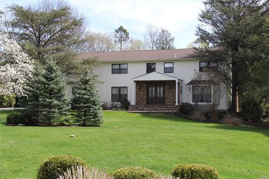 Elegant Center Hall Colonial nestled on 1.2 FLAT acre lot on private Cul-de-sac in Muttontown. Entertainers Dream Backyard w Large Heated IGPL, Outdoor Kitchen w Stainless Steel BBQ, Waterfall.Outdoor Fire-Place, Pool House & Shed. Extremely oversize Master Suite w Custom Walk in Closet & Jacuzzi. Grand sized bedrooms, beautiful Marble Foyer, Banquet-sized Formal Dining Room, LR . white EIK w granite ct, Family Room with working FirePlace, Fully Finished Bsmt, House generator, Gas line in Street.
