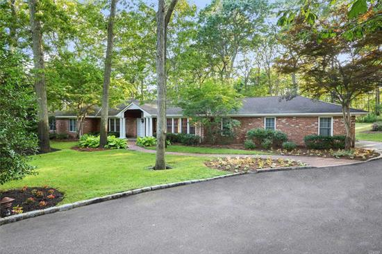 Immaculately Maintained Sprawling Ranch Set on 2 Pristine Acres in Oyster Bay Estates. Open Concept Floor Plan, Oversized Rooms, Extremely Private, Professionally Landscaped with Putting Green & Par 3, a Golfer's Delight! Room for Both Pool & Tennis. Full Basement with Gym. Syosset School District. Very Low Taxes!
