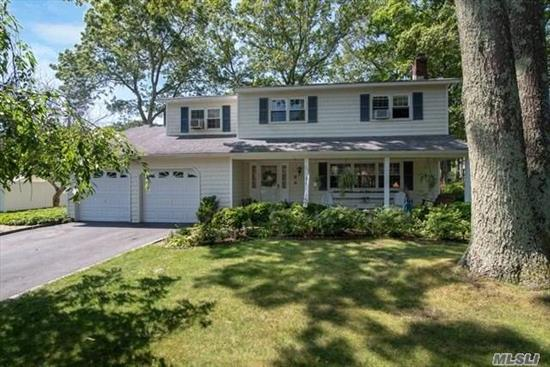FREE 1 YR HOME WARRANTY GIVEN AT CLOSING. Large Colonial in N Shoreham. Fabulous and Huge sun room to be used all year round with elec. and gas burning stove. Perfect for large families and entertaining. . Backyard features Trex deck & above ground pool. Hardwood floors throughout living room, dining room. Den w/wood burning fireplace w/insert. Large Master bedroom has full bath and large walk-in closets. Pvt beach rights transferable to new owners. Hook up accessible for a generator.