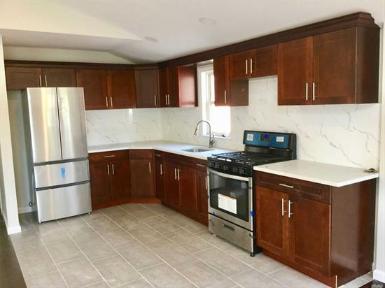 NEWLY RENOVATED APT. ENTRANCE ON LEFT SIDE OF THE HOUSE. SPACIOUS APT 1125 SQ FT. 3 BR 2 BA, LR/DR $2600. TENANT PAYS ALL UTILITIES EXCEPT WATER. DRIVEWAY & GARAGE ARE AVAILABLE AT EXTRA $$$. ZONED FOR PS 162, JHS74, FRANCIS LEWIS H.S. CLOSE TO KISSENA CORRIDOR PARK & I-495 EXPRESSWAY.