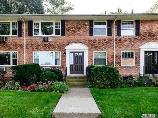 Bright and spacious 2nd floor, 2 bedroom co-op overlooking the gardens. Convenient to LIRR, Library & Waterfront. Maintenance includes taxes, heat, water, snow removal and landscaping. Fee for reserved parking, 1 pet (dog or cat) allowed with approval. Laundry and storage on premises.