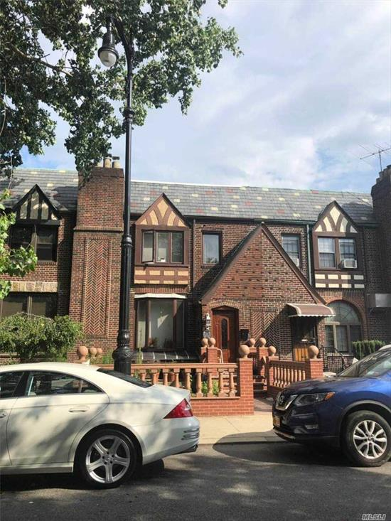Huge beautiful one family Charming Tudor all brick construction diamond condition beautiful renovated inside-outside finished walk-in separate entrance 20x40 each floor total 2400 square feet with new installed floor heating lots of storage rooms close to Woodhaven blvd for shopping restaurant transportation 15 minutes bus to queens center mall direct bus to midtown Manhattan near P.S/I.S 113 school must-see.
