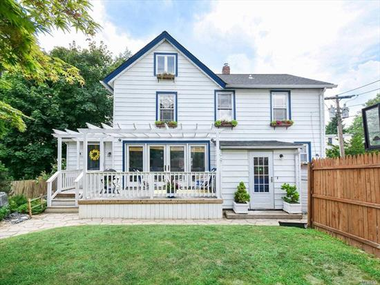 Wonderful, updated Colonial located in the heart of Sea Cliff. Open Concept Living Room/Dining Room and all new Kitchen. Light and Spacious with Windows Galore!! Private Yard with Deck for Dining.  One Car Garage and Off-Street Parking, .