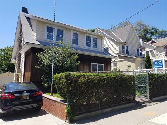 Well kept home on a 40 x 100 lot , great location, bathroom on each floor center hall colonial large bedrooms lots of closets lovely back yard .drive way and garage. 3 blocks to F train and Buses.