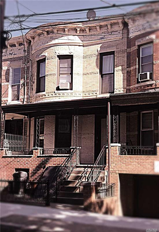 This ARCHITECTURALLY BEAUTIFUL TWO FAMILY BRICK attached home is located in the sought after RIDGEWOOD LANDMARK DISTRICT. It's a DIAMOND in the Rough loaded with architectural details just waiting to be restored and brought back to their original splendor. The 1st & 2nd fl layouts are 11 rooms with 3BR on 2nd fl & 2BR on the 1st. The unfin bsmnt provides easy access to the front sidewalk & the lovely backyard patio & garden. DO NOT MISS THIS ONE!