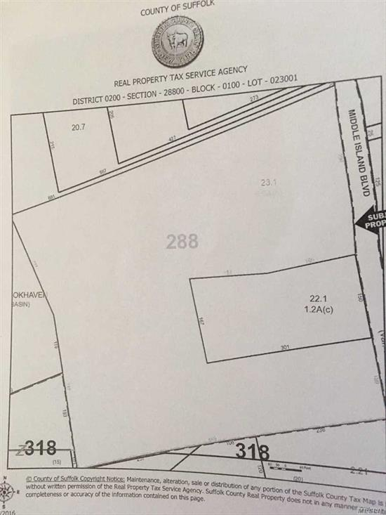 7.1 acres, large house on property, could be sub-divided as per the Town of Brookhaven codes.