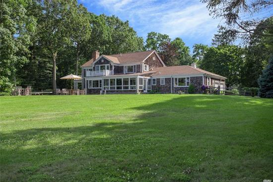 Hampton Style Colonial -Fully Level Property With Specimen Trees, Spectacular Views L.I Sound, Conn., Eaton's Neck & Target Rock Reserve. Private Sandy Beach (No Mud) With Mooring Field. Well Built Builders Custom Colonial W/ Accessory Two Story Building W/ Additional 2+ Car Garage, Huge Gunite Pool, Balconies With Breathtaking Views, , Lloyd Harbors Most Sought-After Private Road, Incredible Sunrises Huge Expansion Possibilities, Surrounded By Iconic Waterfront Homes & Estates