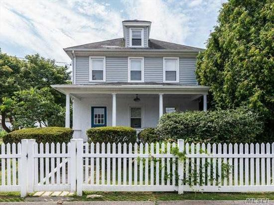 Front porch welcomes you to this completely renovated colonial with new kitchen and baths on an oversized lot. Large living and dining room open into EIK. Full bath downstairs. Large master and 2 bedrooms upstairs with new hall bath. Taxes being reduced!