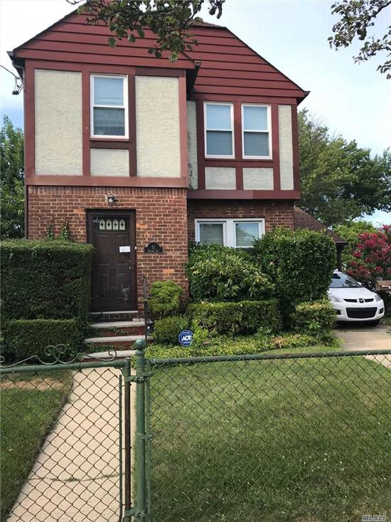 3 bedroom 1 bath colonial corner property will ample yard space elmont school one block away from covert ave school one car garage in ground sprinklers basement w OSE well manicured landscaping take a look today