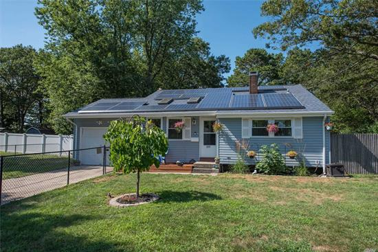 Well Maintained Beautiful Split Level, Quiet Neighborhood. 1st Floor, Light/Bright EIK, Lvrm w 2 Sky Lights, Vaulted Ceiling n Pellet Stove. 2nd Floor, 3 Bedrms, F Bath, Access To Attic. Lower Level, Lg Familyrm w Lg Windows, Fireplace, F Bath, Lg Laundry Rm, Washer Dryer, Lots of Storage, Ent. To 1 Car Garage n Outside Access To Lg Flat Backyard. Hardwood Floors Throughout. 3 Yrs Young, Solar Panels For Electric, Windows, Doors, Roof And Siding, New Hot Water Heater.