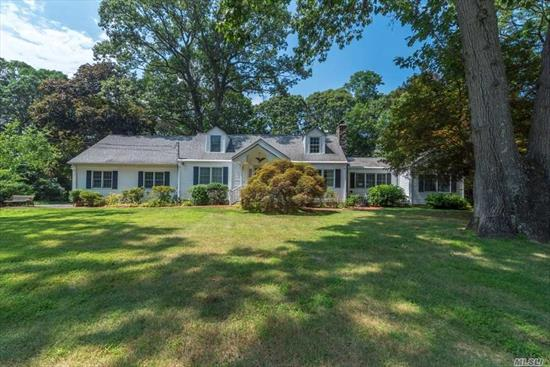 Custom Expanded Cape, Warmth And Light Radiate Throughout This Sprawling Home, Gleaming Hardwood Floors, Massive Formal Dining Room Leads To Sunroom With Sliders To Extensive Deck And Pool Area, Eat In Kitchen W/ Breakfast Nook, Large Den, Two Bedrooms Full Bath W Jetted Tub, Master W/ Full Bath, Two Bedrooms And Full Bath, Perfect Opportunity For Extended Family, Two Car Garage, Bonus Play Room And Craft Area, Laundry Room.