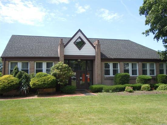 bright office building in the heart of smithtown. chair lift located at main entrance. building is 8478 sq ft plus a 5885 sq ft basement that is finish. 11 electric meters, 11 cac units and several bathrooms on each floor. building has natural gas. great for investor or owner operator. there is parking for 27 with additional spots available