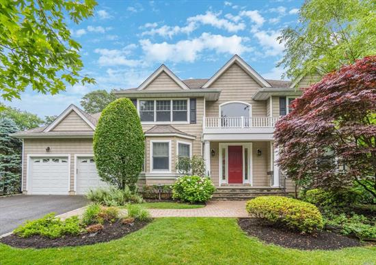 Move Right in to this Center Hall Colonial only .5 mile to Gold Star Beach. Sun filled interior feat. 2 story foyer that leads you to eat-in kitchen & great room w/fireplace and built-ins. Glass sliders welcome you to private backyard perfect for entertaining including built-in fireplace, patio and garden. Convenient 1st floor en suite bedroom & laundry. 15'x25' en suite master w/spacious walk-in closet. Situated on 1/2 acre of mature manicured property & only minutes to Hunt & CSH towns.