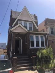 GREAT LOCATION, WALK TO TRAINS APPROX.HALF BLOCK AWAY FROM LIBERTY AVE. HOUSE NEEDS TLC. RECENTLY POINTED.