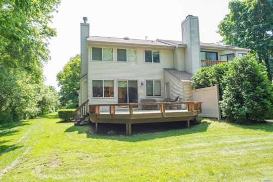 End Unit Townhome With View Of Lake. Living Room, Dining Room, EIK, Half Bath, Garage, Deck With View Of Lake. Kitchen Updated, Fireplace In Living Room. Great Opportunity! Harborfields SD. Upstairs: Guest Bedroom With Bath. Master W/Dressing Room/Walk In Closet Bath And Jacuzzi. Full Basement! A Must See!