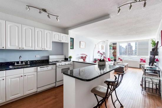 Large sun-drenched luxury 1BR apartment w/ open plan stone countertop kitchen, oversized master bedroom, plank flooring throughout, and more. Closest south-facing 1BR to building's east facade for incredible light. Dogs & cats welcome in this full service building just a block from the 2nd Av Subway entrance & a few blocks from FDR on-ramp. Parking available.1
