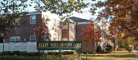 Alley Pond Co-op. Beautiful, completely renovated 2 bedrooms, 1 bath, large master bedroom, nice side second bedroom, open layout kitchen/dining room, granite countertops, wood cabinets & stainless steel appliances. Hardwood floor. Corner unit, lots of windows. This lovely Unit is located adjacent to Alley Pond Nature Preserve. Near shops, expressways, express bus to Manhattan & Bus to E & F Train, Q88 Elmhurst, Q27 Flushing. Pet Friendly, (APOC allows only 1 dog per unit). School District #26.