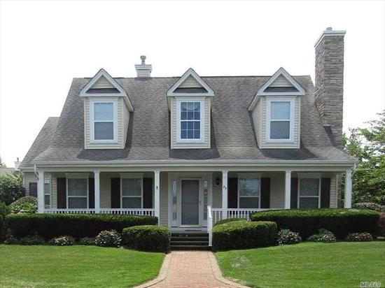 Beautiful Bradford model located in prestigious gated 55 + community. Picturesque front porch with views of the pond. Gleaming hardwood floors, cvac, crown moldings, fpl, brick patio. Clubhouse, gym, heated salt water pool, tennis, bocci and pickleball. Adjacent to clubhouse and amenities. Close to all! Shopping, golf, beaches, vineyards, and fine dining. Peconic tax applies.