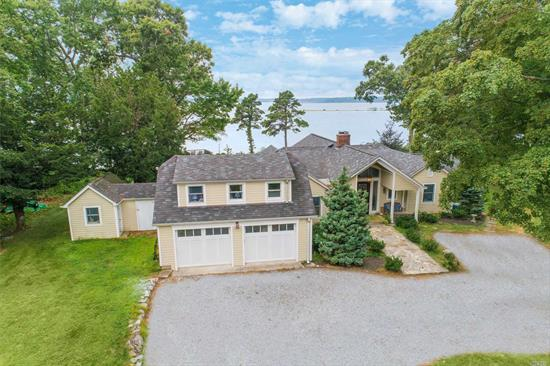Expect to be impressed by this fully expanded renovated Farm Ranch sitting on tranquil 3.14 acres with panoramic western waterviews of Northport Bay & Long Island Sound. Boater's dream includes 130' fixed pier w/ floating dock & boathouse w/ over 300' of private sandy beach. Eat in kitchen features stainless steel appliances & glass sliders to deck. Fam rm w/ exposed beams & expansive windows perfectly framing captivating views. EHC private beach rights (fee). Cottage not accessible to tenant.