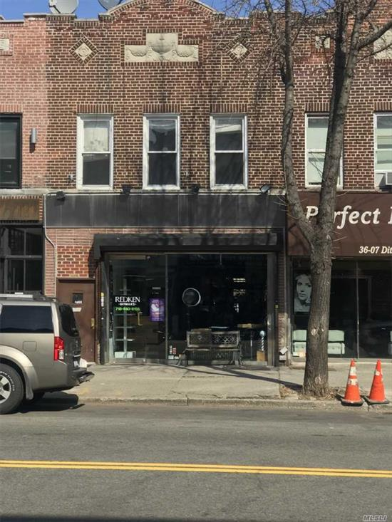 Mixed-use property in Astoria. Location! Location! Location! 1008 sq. ft. Storefront with full basement.  Yard. 2nd Fl. - 4 bedroom apartment, large eat-in-kitchen, livingroom, full bath, 3 skylites.