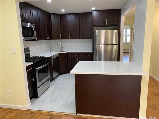 All newly renovated, 6 rm, 3 bdrm, new 1 & 1/2 baths, hardwood floors, walk-in closet, large balcony off LR, new kitchen with all new stainless steel appliance (dishwasher stove & refrigerator microwave) heat & hot water included, near transportation, we have keys, small pet OK..