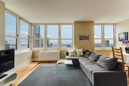 Here it is, the coveted south side of 88 Morgan St! Comfortably nestled on a high floor, 3708 gives an all encompassing southern view of Hudson Bay, watch the ships, sailboats, ferries navigate the waters. Smile and salute the shining symbol of the nation's freedom with the iconic Statue of Liberty. See as far as the Verrazano Bridge connecting Brooklyn to Staten Island. And who can miss the World Trade Center view to the east! Enjoy the nourishing sun, all day long. With the most amount of windows of all the one bedroom lines, the 08 line is the most sought after floor plan. 3708 has a wider than longer layout, this large space makes it so enjoyable to host dinners, get togethers with friends and family or simply enjoy a quiet afternoon overlooking the incredible view. Conveniently located close to 3 Path Stations, NY Waterways Ferries, Hudson Light Rail, NJ Transit buses, minutes to the Holland Tunnel and Lincoln Tunnel. Commuters have the ease and convenience to get to Manhattan within minutes. Shopping, grocery and a multitude of eateries, restaurants, pubs and shops are situated all over downtown. Stroll along the boardwalk along the Hudson river and Morris Canal, soak in the majestic view of the Manhattan Skyline.   Trump Plaza West is a true full service building with a full time doorman, front desk concierge, security, amenities floor staff, fitness club, outdoor pool, ping pong room, kids room, indoor aqua grotto, sauna, steam room and so much more. Indoor Garage Rental parking is available for a fee. Come see why so many sophisticated investors own in 88 Morgan St.