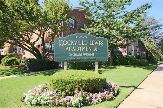 This one you don't want to skip.Come see this first floor one bedroom unit in desirable Rockville Lewis Development.You will not be disappointed.Beautifully maintained corner unit close to all that Rockville Centre has to offer. Common Charges include heat and taxes.