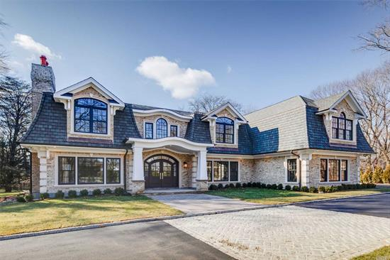New Const. Arch. Mstrpiece. 7600 Sq Ft Brk Manor Home On Over 2 Park-Like Acres In Famed Jericho Sd. Custom Mahogany Front Dr, 2 Story Ent Hall W/Dramatic Staircase. Great Rm W/20 Ft Ceilings, Designer Trim Mouldings, Panelings, & Stone Fp. Transitional & Chic Interior, Banquet-Sized Fdr, Gour Kit W/Custom Cab, Comm Grade Appl., Sep Brkfst Area Overlooking Pool, Cabana & Slate Patios. 6 Brs, 5.5 Designer Bths. Mbr Suite/Sitting Area, 2 W-I Closets & Designer Spa Bths.Audio Sys, Sec Cams. Nat. Gas