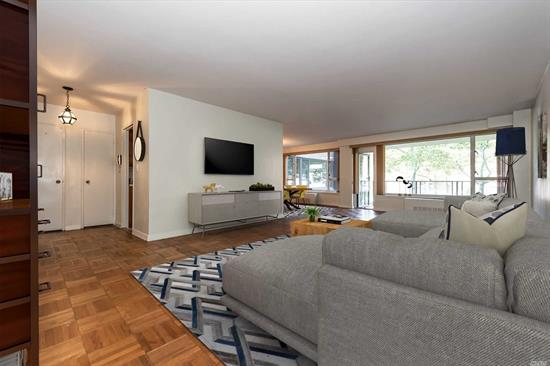 This Sunny 2 Bedroom 2 bath apartment in the Cryder House boasts an Open floor plan with EIK and L-shaped Dining/Living Room with access to the beautiful Terrace. The apartment has spacious closets, Master bedroom w/a master bath, second bedroom and full hall bath. This Building offers laundry on each floor,  24 Hour Doorman, Library, Gym and a Heated Outdoor In ground Pool. Close to Express and Local Buses, Highways, Shopping.