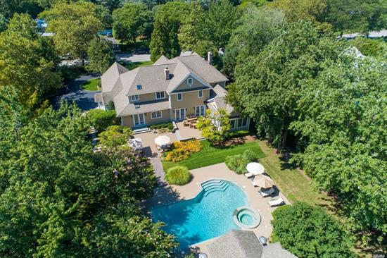 Stunning traditional home custom built with the finest quality finishes set in exclusive Northport Bay Estates on a beautifully landscaped acre of property! Gourmet kitchen, billiard room, 1st fl bedroom perfect for guests or nanny. Resort like backyard boasts a gunite pool w/jacuzzi, multiple entertaining spaces and fully equipped pool cabana. All new 4 zone CAC just installed. 2 blocks to private beach with mooring rights, 3 minute drive to charming Northport village.