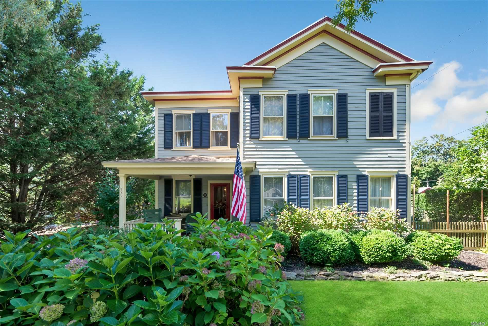 Elegant 1884 Historic Home With Original Details & Exceptional Character Throughout, Spacious Custom Chef's Kitchen Opens To Living Room W Fireplace, Leading To A Beautiful Mahogany Deck Which Overlooks Exquisite Gardens & A Gazebo In The Most Serene & Private Setting & Also An Enclosed Outdoor Shower. Close To All, Including Town, Jitney/Train, Founders Landing Beach & Horton's Pt Lighthouse Park. Come See This Remarkable Home, Which Includes Many Upgrades & Has Been Beautifully Maintained!