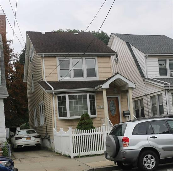 detached 2 family with long driveway, 1fl with large living room, kitchen, 1 bath, 1 bed(2 beds converted into 1), 2fl and attic duplex 3 beds apt. separate entrance to basement, walk to Queens College, Kissena Blvd. bus to Main St, Roosevelt Ave. ez to all