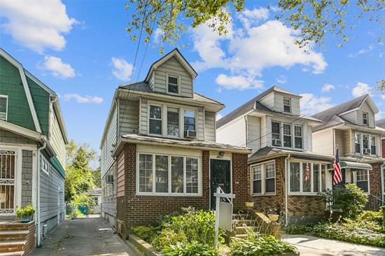 House being sold as is.Detached house in the heart of Forest Hills featuring L/R, Sunroom, Dining room, EIK, 1/2 bath 2nd FL 3Bedrooms hall bath Attic Backyard.Driveway, garage Zone for P.S 144.