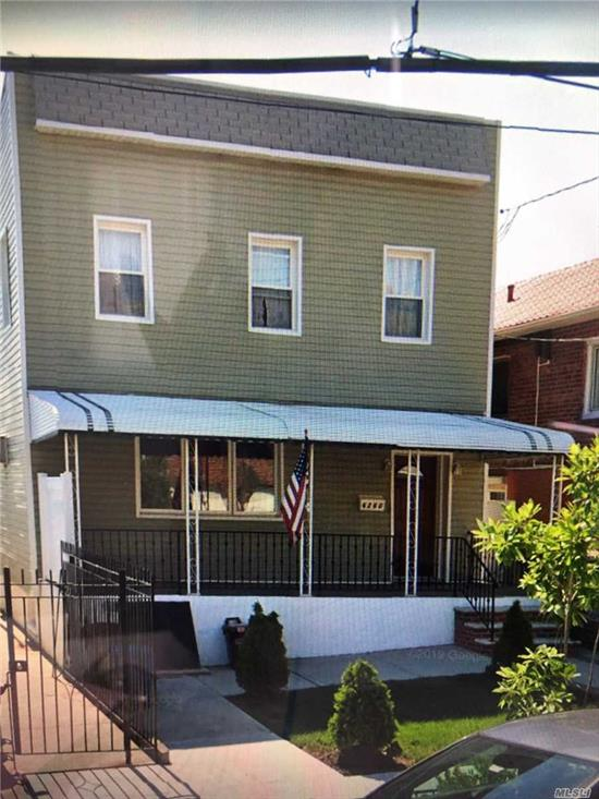 2 bedroom, 1 bath with backyard. Renovated kitchen. Laundry in the unit. Excellent storage of closet space .Utilities separate. AC units in every room. 1/4 mile to the M train
