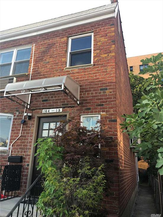 This newly renovated 1st floor 2 Bedroom 1 Bath + fully finished basement and 1/2 bath is available for rent! Can be used as a duplex. Included is laundry room, a parking space, shared backyard, and new security system will be installed. Close to LIRR. Pets are welcome!*All info deemed reliable but is NOT guaranteed accurate